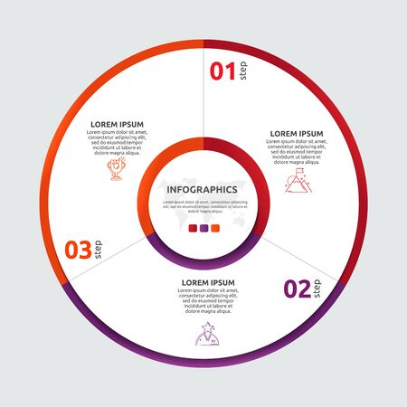 Vector flat template circle and sector infographics. Business concept with 3 sectors. Three steps for content, flowchart, timeline, levels, marketing, presentation, graph, diagrams, slideshow 일러스트
