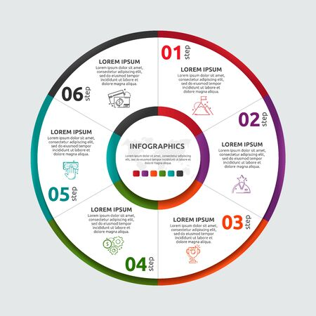 Vector flat template circle and sector infographics. Business concept with 6 sectors. Six steps for content, flowchart, timeline, levels, marketing, presentation, graph, diagrams, slideshow Illustration