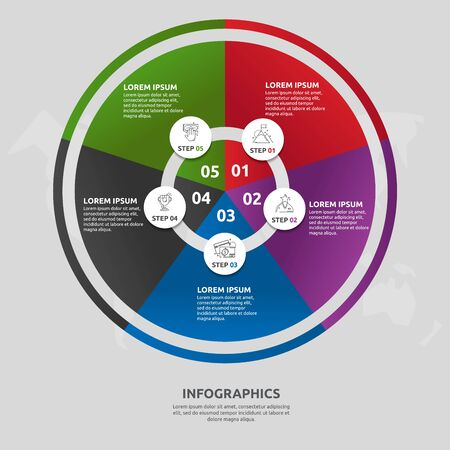 Vector flat template circle and sector infographics. Business concept with 5 sectors. Five steps for content, flowchart, timeline, levels, marketing, presentation, graph, diagrams, slideshow 일러스트