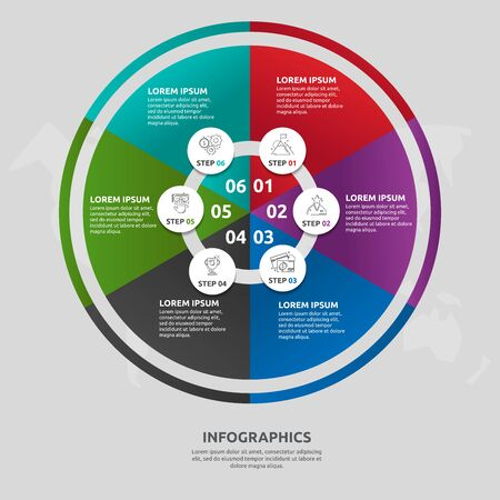 Vector flat template circle and sector infographics. Business concept with 6 sectors. Six steps for content, flowchart, timeline, levels, marketing, presentation, graph, diagrams, slideshow 일러스트