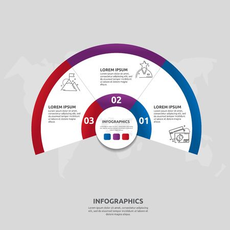 Vector flat template circle and sector infographics. Business concept with 3 sectors. Three steps for content, flowchart, timeline, levels, marketing, presentation, graph, diagrams, slideshow  イラスト・ベクター素材