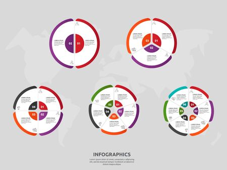 Vector template circle and sector infographics. Set business concept with 2, 3, 4, 5, 6. Used for content, flowchart, timeline, levels, marketing, presentation, graph, diagrams, slideshow, chart  イラスト・ベクター素材