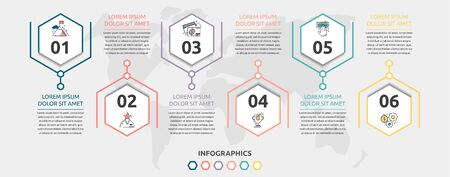 Vector flat infographic template. Line hexagon with text and icons for six diagrams, graph, flowchart, timeline, marketing, presentation. Business concept with 6 options