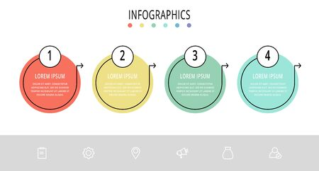 Vector flat line template circle infographics. Business concept with 4 options and arrows. Four steps for content, flowchart, timeline, levels, marketing, presentation, graph, diagrams, slideshow Illustration