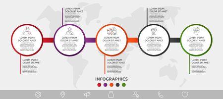 Infographie de cercle de modèle 3D de vecteur. Concept d'entreprise avec 5 options et pièces. Cinq étapes pour le graphique, les diagrammes, le diaporama