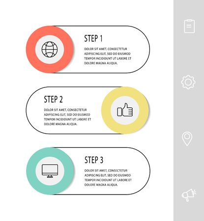 Vector template circle infographics. Business concept with 3 options and labels. Three steps for content, flowchart, timeline, levels