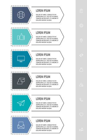 Vector infograph flat template. Shape with six for four diagrams, graph, flowchart, step for step, timeline, presentation. Business concept with 6 labels
