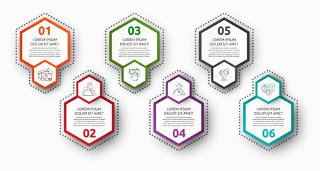 Vector infographic with 6 pentagons. Used for six diagrams, graph, flowchart, timeline, marketing, presentation. Creative business concept step by step