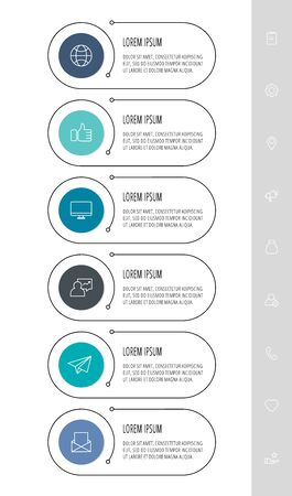 Vector flat template circle infographics. Business concept with 6 options and parts. Six steps for content, flowchart, timeline, levels, marketing, diagrams, slideshow Vectores