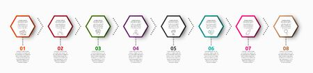 Vector infographic with 8 hexagons. Used for eight diagrams, graph, flowchart, timeline, marketing, presentation. Creative business concept step by step