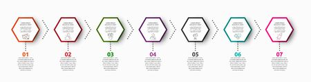Vector infographic with 7 hexagons. Used for seven diagrams, graph, flowchart, timeline, marketing, presentation. Creative business concept step by step Ilustrace