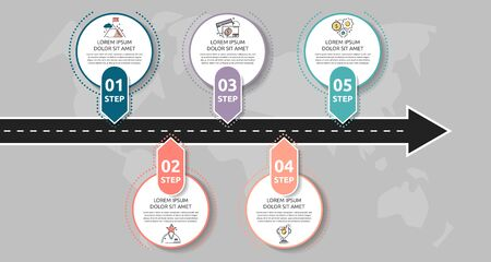 Modern road infographic template with circles. Business concept with 5 options and arrows. Five steps for content, flowchart, timeline, levels, marketing, presentation Ilustrace