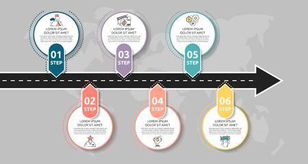 Modern road infographic template with circles. Business concept with 6 options and arrows. Six steps for brochure, diagram, timeline, levels, timeline, web design 向量圖像