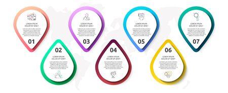 Infografía de vector con 7 pines y círculos. Se utiliza para siete diagramas, gráficos, diagrama de flujo, línea de tiempo, marketing, presentación. Concepto de negocio creativo paso a paso.
