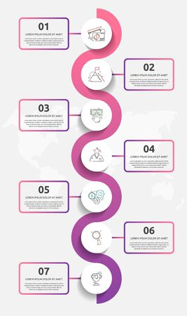 Vector template circle infographics. Business concept with 7 options and labels. Seven steps for content, flowchart, timeline, levels
