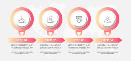 Vector template circle infographics. Business concept with 4 options and labels. Four steps for content, flowchart, timeline, levels