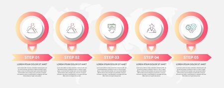 Vector template circle infographics. Business concept with 5 options and labels. Five steps for graph, diagrams, slideshow
