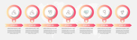 Vector template circle infographics. Business concept with 7 arrows and labels. Seven steps for content, flowchart, timeline, levels