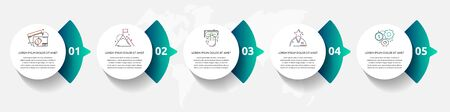 Vector template circle infographics. Business concept with 5 arrows and parts. Five steps for graph, diagrams, slideshow