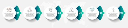 Vector template circle infographics. Business concept with 6 arrows and parts. Six steps for content, graph, diagrams, slideshow Ilustracja