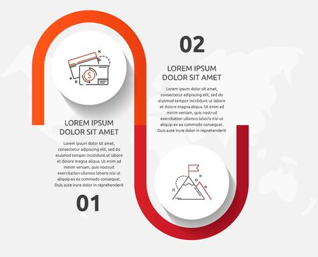 Vector template circle infographics. Business concept with 2 options and parts. Two steps for diagrams, flowchart, timeline. Path step by step 向量圖像