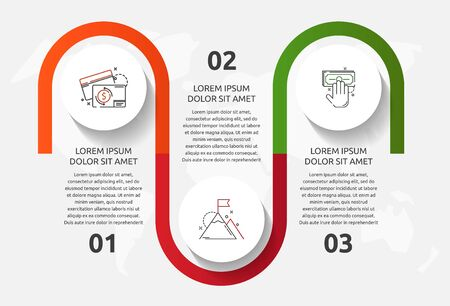 Vector template circle infographics. Business concept with 3 options and parts. Three steps for content, flowchart, timeline, levels. Path step by step 向量圖像