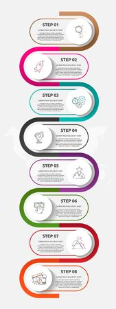 Vector template circle infographics. Business concept with 8 options and parts. Eight steps for graph, diagrams, slideshow. Path step by step