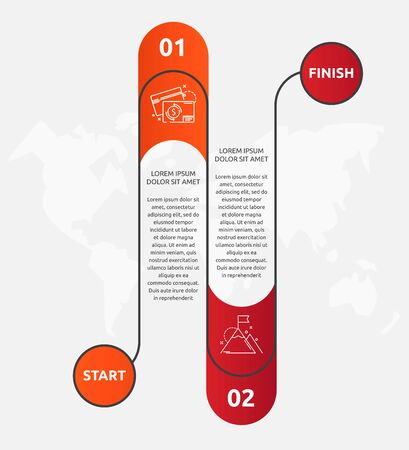 Abstract vector road timeline infographic. Vector illustration with 2 labels. Two steps for diagrams, flowchart, timeline 向量圖像