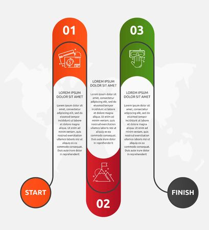Abstract vector road timeline infographic. Vector illustration with 3 labels. Three steps for content, flowchart, timeline, levels. Path step by step