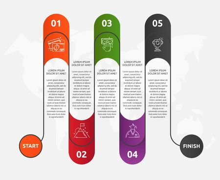 Abstract vector road timeline infographic. Vector illustration with 5 labels. Five steps for graph, diagrams, slideshow. Path step by step