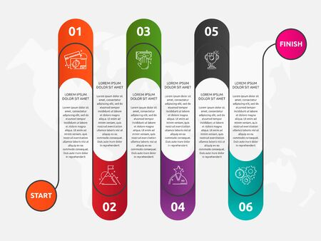 Abstract vector road timeline infographic. Vector illustration with 6 labels. Six steps for content, graph, diagrams, slideshow. Path step by step