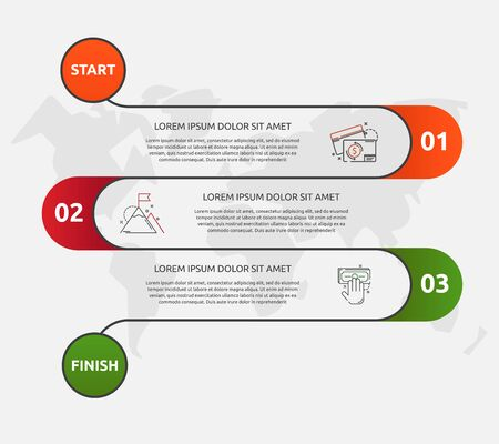 Abstract vector road timeline infographic. Vector illustration with 3 labels. Three steps for diagrams, flowchart, timeline