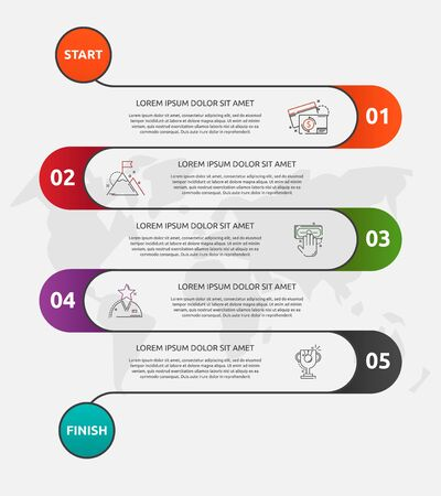 Abstract vector road timeline infographic. Vector illustration with 5 labels. Five steps for diagrams, flowchart, timeline