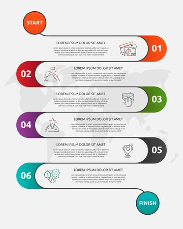Abstract vector road timeline infographic. Vector illustration with 6 labels. Six steps for diagrams, flowchart, timeline