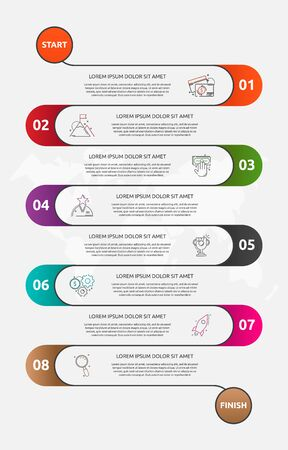 Abstract vector road timeline infographic. Vector illustration with 8 labels. Eight steps for diagrams, flowchart, timeline 向量圖像