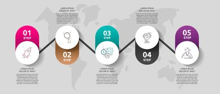 Vector template circle infographics. Business concept with 5 options and parts. Five steps for graph, diagrams, slideshow. Path step by step Illustration