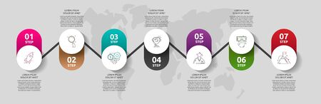 Vector template circle infographics. Business concept with 7 options and parts. Seven steps for content, flowchart, timeline, levels. Path step by step 向量圖像