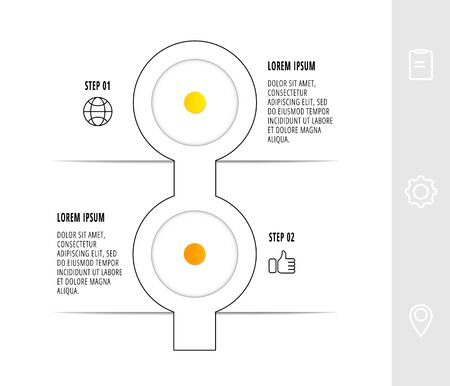 Infographic circular with 2 steps, parts, icons. Flat line vector template. Can be used for diagram, business, web, workflow layout, presentations, flow chart, info graph, timeline, content, levels.
