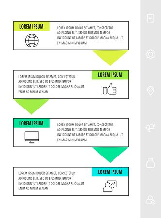 Vector infographics design template with arrows. Four steps. Modern line concept can be used for diagram, business, web, banner, workflow layout, presentations, flow chart, info graph, timeline