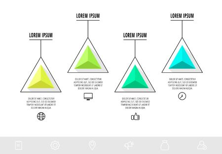 Vector infographics design template with triangle. Four steps. Abstract modern line concept can be used for diagram, business, web, banner, workflow layout, presentations, content, levels 矢量图像