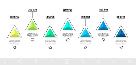 Vector infographics design template with triangle. Seven steps. Abstract modern line concept can be used for diagram, business, web, banner, workflow layout, presentations, graph, timeline, levels 矢量图像