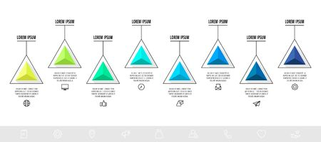 Vector infographics design template with triangle. Eight steps. Abstract modern line concept can be used for diagram, business, web, banner, presentations, info graph, timeline, content, levels 矢量图像