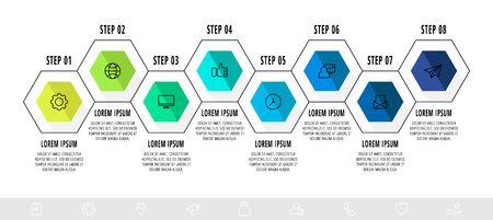 Vector business infographics. Timeline modern with 8 hexagons. Modern design for flowchart, timeline, web, graph, presentation