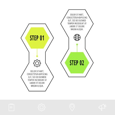 Hexagon infographic design template with 2 options and icons. Vector line concept. Can be used for web, banner, workflow layout, presentations, flow chart, info graph, timeline, content. target