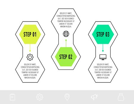 Hexagon infographic design template with 3 options and icons. Vector business line concept. Can be used for diagram, web, banner, workflow layout, presentations, flow chart, info graph, content. 矢量图像
