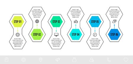 Hexagon infographic design template with 6 options and arrows. Vector business line concept. Can be used for diagram, web, banner, workflow layout, presentation, info graph, timeline, content, levels. 矢量图像