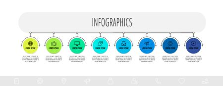 Infographics circles with 2 steps, labels. Line vector template. Can be used for diagram,, banner, workflow layout, presentations, flow chart, info graph, timeline, content, levels 矢量图像