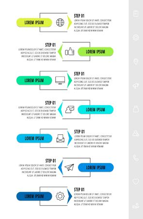 Vector infographics design template with arrows. Seven steps. Modern line concept can be used for diagram, business, web, banner, workflow layout, presentations, chart, levels. Data visualization.