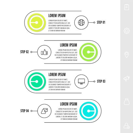 Infographics circles with 4 steps, labels. Line vector template. Can be used for diagram, business, workflow layout, presentations, flow chart, info graph, timeline, content, levels. 矢量图像