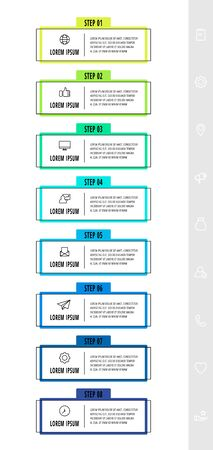 Vector infographics design template with label. Eight steps. Modern line concept can be used for diagram, business, web, banner, workflow layout, presentations, timeline, content, levels 矢量图像